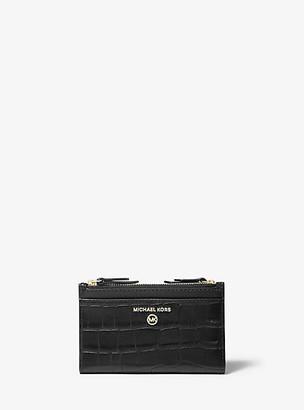 MICHAEL Michael Kors MK Small Crocodile Embossed Leather Double Zip Card Case - Black - Michael Kors