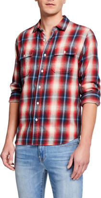Frame Men's Double-Pocket Plaid Twill Sport Shirt