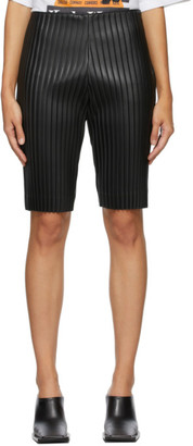 we11done Black Faux-Leather Pleated Shorts