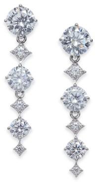 Eliot Danori Silver-Tone Cubic Zirconia Linear Drop Earrings, Created for Macy's