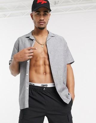 Asos Design DESIGN oversized linen shirt with revere collar in gray
