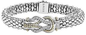Lagos Sterling Silver and 18K Gold Newport Diamond Caviar Bracelet