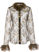 Anna Sui Ruffled Collar Gilded Lace Top