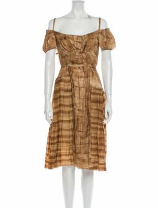 Prada Tie-Dye Print Knee-Length Dress Brown