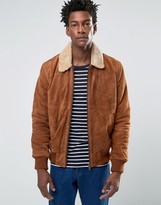 Bellfield Suede Fleece Lined Tan Bomber