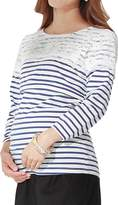 Sweet Mommy Maternity and Nursing Lace Striped Tee Shirt BKM