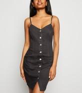 New Look Petite Button Up Denim Bodycon Dress