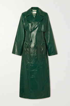 Bottega Veneta Double-breasted Shirred Glossed-leather Trench Coat - Green