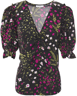 Joie Anevy Ruffle-trimmed Floral-print Crepe Blouse