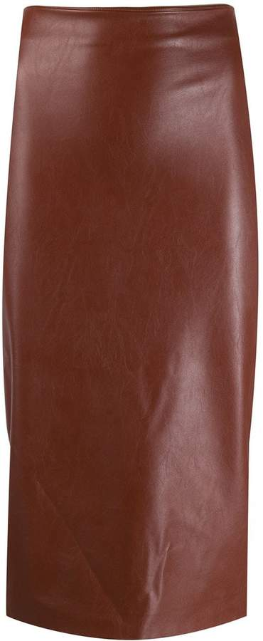 Kiltie leather effect skirt
