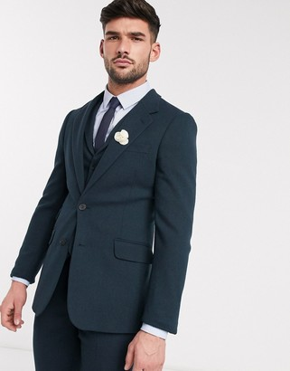 ASOS DESIGN wedding super skinny suit jacket in dark green wool blend twill