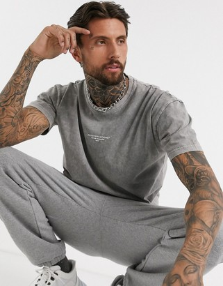 Good For Nothing acid washed oversized t-shirt in gray