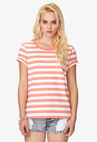 Forever 21 Striped Cuffed Sleeve Tee