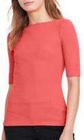 Lauren Ralph Lauren Elbow-Length Sleeve Slim-Fit Tee