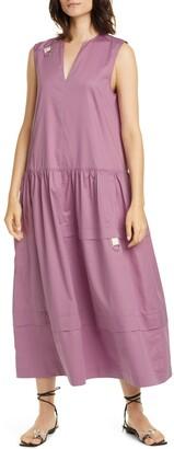 Tibi Split Neck Eco Poplin Midi Dress
