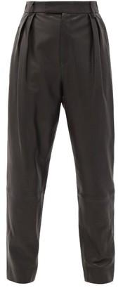 KHAITE Magdeline High-rise Leather Trousers - Black
