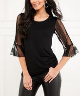 Milan Kiss Women's Blouses BLACK - Black Stripe Mesh-Sleeve Ruffle Scoop Neck Top - Women