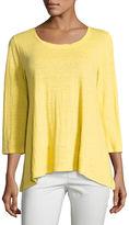 Eileen Fisher 3/4-Sleeve Scoop-Neck Organic Linen Tee