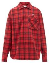 Off-White Off White Arrow-applique Checked-flannel Shirt - Mens - Red