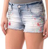 Juniors' Wallflower Paint Splatter Cutoff Shortie Shorts