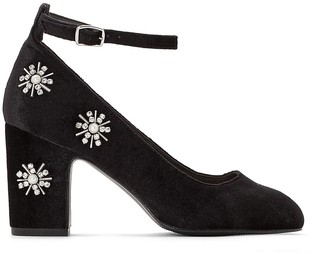La Redoute Collections Heeled Shoes with Diamante and Bead Flowers