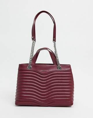 Rebecca Minkoff quilted leather satchel bag in burgundy