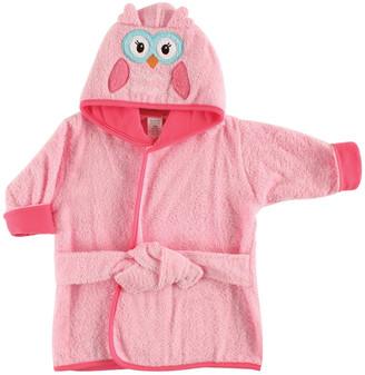 Luvable Friends Girls' Bath Robes Pink - Pink Owl Hooded Fleece Robe - Newborn