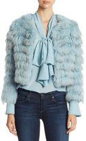 Alice + Olivia Fawn Silver Fox and Rabbit Fur Jacket