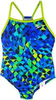 Speedo Big Girls Youth Solid Splice Back One-Piece Swimsuit