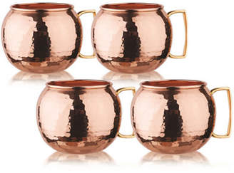 Old Dutch 32 Oz Hammered Solid Copper Globe MoscowMule Mugs Set of 4
