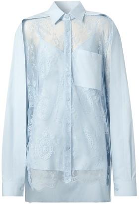 Burberry Lace Panel Oversized Shirt