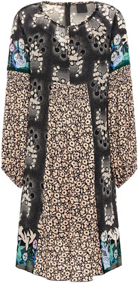 Anna Sui Paneled Printed Silk-chiffon And Crepe Mini Dress