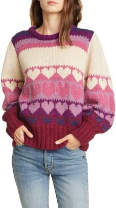 LoveShackFancy Shirelle Heart Pattern Balloon Sleeve Sweater