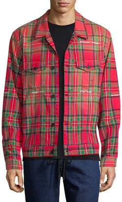 Off-White Tartan Print Trucker Jacket