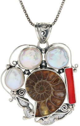 Samuel B. Sterling Silver Fossil, White Biwa, & Coral Pendant Necklace