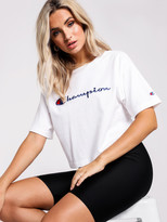 Champion Heritage Large Script Crop T-Shirt in White