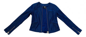 Alexander McQueen Blue Leather Jackets