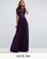 Asos Tall Wedding Lace Jersey Pleated Maxi Dress