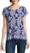 Liz Claiborne Short Sleeve Crew Neck Paisley T-Shirt-Womens