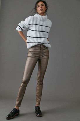 Paige Hoxton High-Rise Coated Skinny Jeans By in Gold Size 25