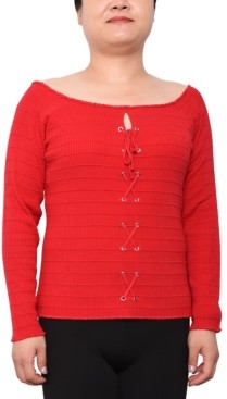 Derek Heart Trendy Plus Size Lace-Up Sweater