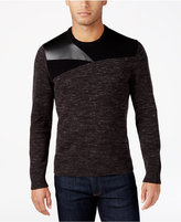 INC International Concepts Men's Mixed-Media Faux-Leather Trim Sweater, Only at Macy's