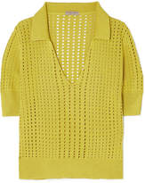 Bottega Veneta Pointelle-knit Silk Top - Chartreuse
