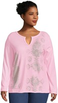 Just My Size Split-Neck Long-Sleeve Graphic T-Shirt