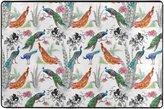 Naanle Watercolor Beautiful Peacocks and Flowers Area Rugs Pad Non-Slip Kitchen Floor Mat for Living Room Bedroom 2' x 3' Doormats Home Decor