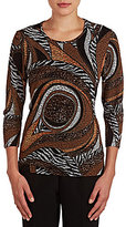 Allison Daley Petite Crew Neck 3/4 Sleeve Printed Top