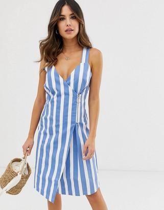 Ichi Stripe Wrap Dress With Zip Fastening