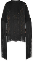 Elie Saab Fringed Lace And Crepe Top - Black