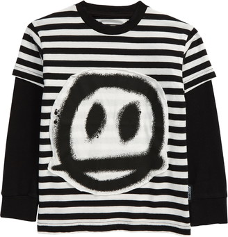 Nununu Sprayed Smile Stripe Layered Graphic Tee