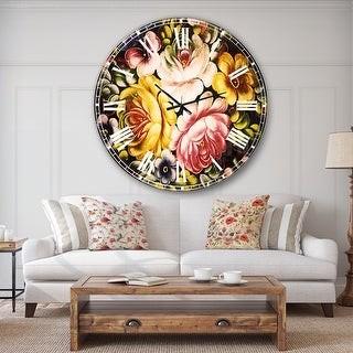 Design Art Designart 'Digital Flower Bouquet' Floral Large Wall CLock
